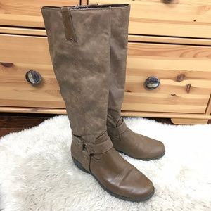 A2 by Aerosoles Tall Riding Boots Faux Leather Sz7